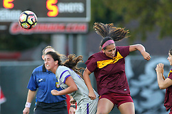 04 November 2016:  Carolina Dunbar(77) during an NCAA Missouri Valley Conference (MVC) Championship series women's semi-final soccer game between the Loyola Ramblers and the Evansville Purple Aces on Adelaide Street Field in Normal IL
