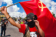09 SEPTEMBER 2003 - CANCUN, QUINTANA ROO, MEXICO:  Protesters march against the WTO ministerial talks in Cancun. Tens of thousands of protesters, mostly farmers, came to Cancun for the fifth ministerial of the World Trade Organization (WTO). They were protesting against developed nations pushing to get access to agricultural markets in developing nations. The talks ultimately collapsed after no progress with no agreements reached between the participants.      PHOTO BY JACK KURTZ