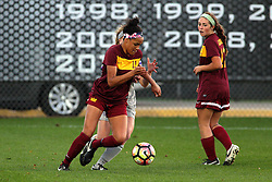 04 November 2016:  Sienna Cruz during an NCAA Missouri Valley Conference (MVC) Championship series women's semi-final soccer game between the Loyola Ramblers and the Evansville Purple Aces on Adelaide Street Field in Normal IL