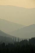 Overlooking the Purcell Mountains in northwest Montana during 2015 fire season. Yaak Valley, Montana.