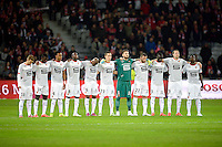 Equipe Rennes - Hommage aux sportifs decedes / Florence Arthaud / Camille Muffat / Alexis Vastine - 15.03.2015 - Lille / Rennes - 29e journee Ligue 1<br /> Photo : Andre Ferreira / Icon Sport