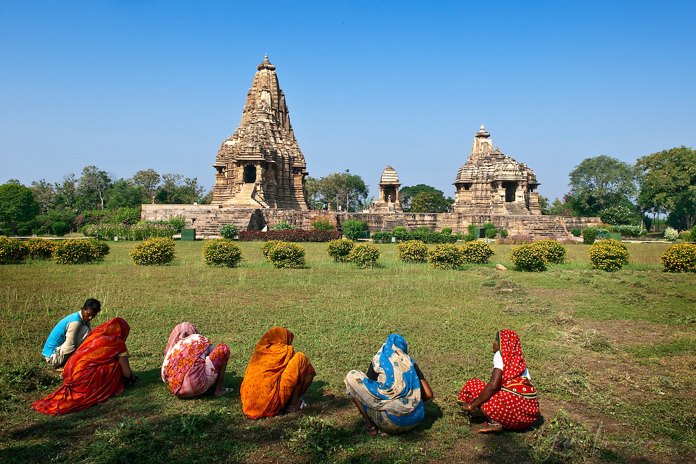 Workers near the temples of Khajuraho