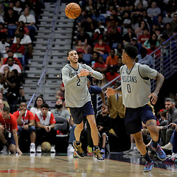 Oct 5, 2019; New Orleans, LA, USA; New Orleans Pelicans guard Lonzo Ball (2) passes to guard Nickeil Alexander-Walker (0) during a open practice at the Smoothie King Center. Mandatory Credit: Derick E. Hingle-USA TODAY Sports