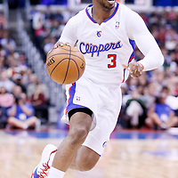 24 March 2014: Los Angeles Clippers guard Chris Paul (3) dribbles during the Los Angeles Clippers 106-98 victory over the Milwaukee Bucks at the Staples Center, Los Angeles, California, USA.