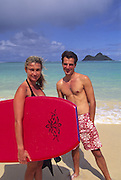 Couple on Lanikai Beach, Oahu, Hawaii<br />