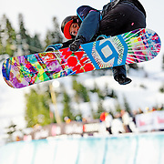 Canadian National Snowboard Team member Jed Anderson competes during qualification for the 2009 LG Snowboard FIS World Cup at Cypress Mountain, British Columbia, on February 16th, 2009. Anderson finished 41st in the field of 62.