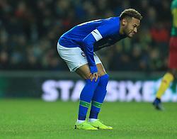 Brazil's Neymar leaves the field injured during the international friendly match at Stadium MK, Milton Keynes.