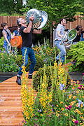 Stomp perform on the Homebase Urban Retreat Garden - RHS Chelsea Flower Show, Chelsea Hospital, London UK, 18 May 2015.