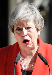 © Licensed to London News Pictures. 24/05/2019. London, UK. British Prime Minister THERESA MAY breaks in to tears as she delivers a statement at Downing Street in Westminster, London announcing her resignation. The Prime Minister is under huge pressure to quit over her handing of negotiations for the UK's exit from the European Union. Photo credit: Ben Cawthra/LNP