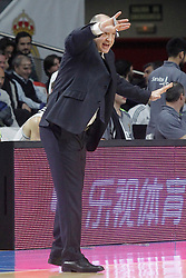 28.01.2016, Palacio de los Deportes, Madrid, ESP, FIBA, EL, Real Madrid vs Olympiacos PiraeusPlayoff, 5. Spiel, im Bild Real Madrid's coach Pablo Laso // during the 5th Playoff match of the Turkish Airlines Basketball Euroleague between Real Madrid and Olympiacos Piraeus at the Palacio de los Deportes in Madrid, Spain on 2016/01/28. EXPA Pictures © 2016, PhotoCredit: EXPA/ Alterphotos/ Acero<br /> <br /> *****ATTENTION - OUT of ESP, SUI*****