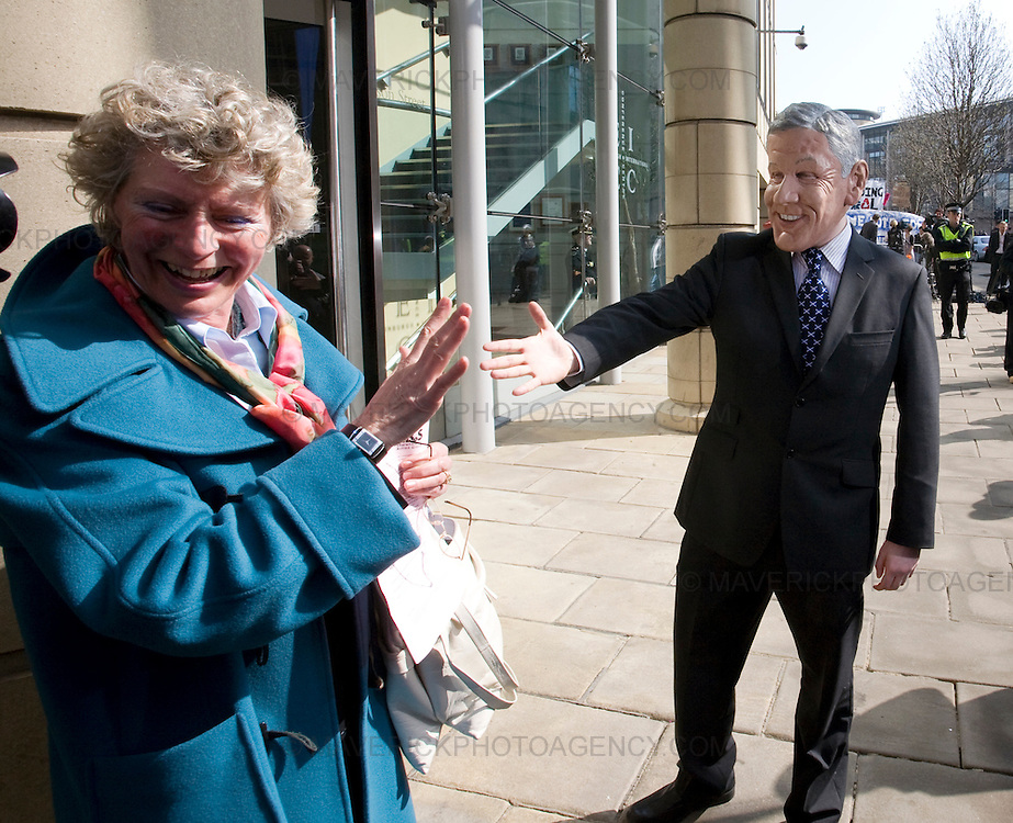A Fred Goodwin lookalike stands outside  the Edinburgh International Conference Centre in Edinburgh where shareholders will come face to face with the Royal Bank of Scotland directors at todays AGM..03/4/09.Michael Hughes/Maverick.Tel. 07789681770