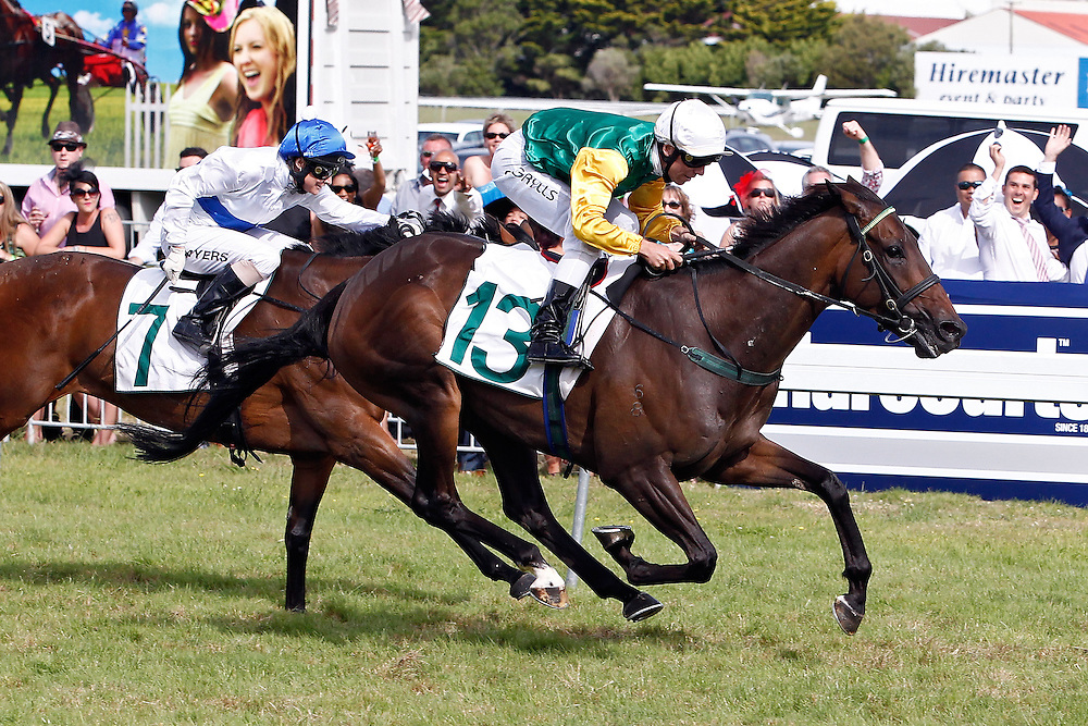 Graphic ridden by Craig Grylls, right, leads Skysoblue ridden by Kelly Myers, left, home to win the 2400m Group II Wellington Cup at Trentham Racecourse, Wellington, New Zealand, Saturday, January 25, 2014. Credit: SNPA/Dean Pemberton
