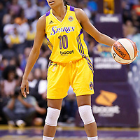 15 August 2014: Los Angeles Sparks guard Lindsey Harding (10) brings the ball up court during the Los Angeles Sparks 77-65 victory over the Seattle Storm, at the Staples Center, Los Angeles, California, USA.