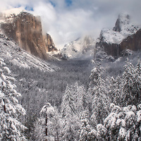 Yosemite Valley from Tunnel View after a spring snow, Yosemite National Park, California.