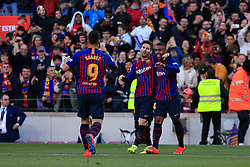 March 30, 2019 - Barcelona, BARCELONA, Spain - 10 Leo Messi of FC Barcelona celebrating his goal with 14 Malcom of FC Barcelona and 09 Luis Suarez of FC Barcelona during the ''Derby'' of La Liga match between FC Barcelona and RCD Espanyol in Camp Nou Stadium in Barcelona 30 of March of 2019, Spain. (Credit Image: © AFP7 via ZUMA Wire)