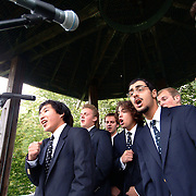 September 22, 2007 -- BRUNSWICK, Maine. Bowdoin College's male A Cappella singing group, The Meddibempsters performed in the cupola on the Mall in downtown Brunswick at the 11th annual Family Arts Festival on Saturday, September 22. More than fifty local artists demonstrated and taught their skills to the community at this event.   Photo by Roger S. Duncan.