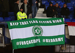 Manchester United flags display a flag in respect to the Brazilian football club Chapecoense - Mandatory by-line: Matt McNulty/JMP - 04/12/2016 - FOOTBALL - Goodison Park - Liverpool, England - Everton v Manchester United - Premier League