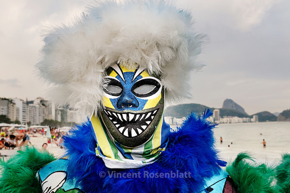 Bate-bola of the Fanáticos gang, from Pilares, zona norte of Rio de Janeiro. To show and parade on the Beach of Copacabana is a pride & revenge for this people of poor workers from the far suburbs.