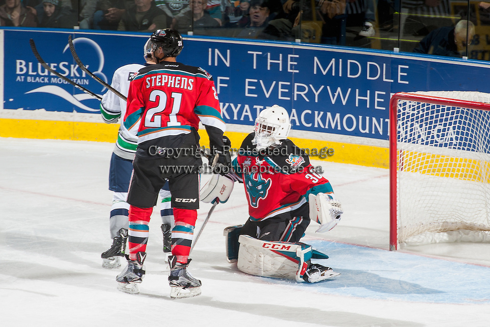 KELOWNA, CANADA - DECEMBER 7: Michael Herringer #30 of the Kelowna Rockets defends the net against the Seattle Thunderbirds on December 7, 2016 at Prospera Place in Kelowna, British Columbia, Canada.  (Photo by Marissa Baecker/Shoot the Breeze)  *** Local Caption ***
