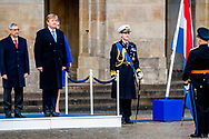 10-12-2018 AMSTERDAM - King Willem-Alexander and the president of the Republic of Cape Verde, Jorge Carlos de Almeida Fonseca and his wife, Ligia Dias Fonseca during the Welcome Cermony. The Cape Verdean president is in the Netherlands for a two-day state visit. ROBIN UTRECHT