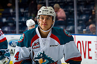 KELOWNA, CANADA - JANUARY 26:  Devin Steffler #4 of the Kelowna Rockets warms up against the Vancouver Giants on January 26, 2019 at Prospera Place in Kelowna, British Columbia, Canada.  (Photo by Marissa Baecker/Shoot the Breeze)