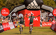 Oak Valley ( Elgin / Grabouw ), SOUTH AFRICA - Overall mixed winners Nico Pfitzenmaier and Alison Sydor during the final stage stage seven , 7 , of the Absa Cape Epic Mountain Bike Stage Race between Oak Valley ( Elgin / Grabouw ) and Lourensford on the 28 March 2009 in the Western Cape, South Africa..Photo by Karin Schermbrucker  /SPORTZPICS