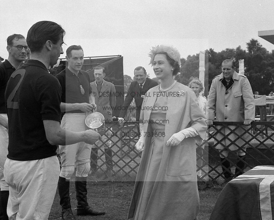 HM The QUEEN ELIZABETH II at the Household Brigade Polo Club, Smith's Lawn, Windsor Great Park on 17th June 1961.