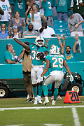 Miami Dolphins defensive back Walt Aikens (35) celebrates with Dolphins rookie free safety Minkah Fitzpatrick (29) after intercepting a fourth quarter pass that clinches the Dolphins win with less than one minute left in the fourth quarter during the NFL week 9 regular season football game against the New York Jets on Sunday, Nov. 4, 2018 in Miami Gardens, Fla. The Dolphins won the game 13-6. (©Paul Anthony Spinelli)