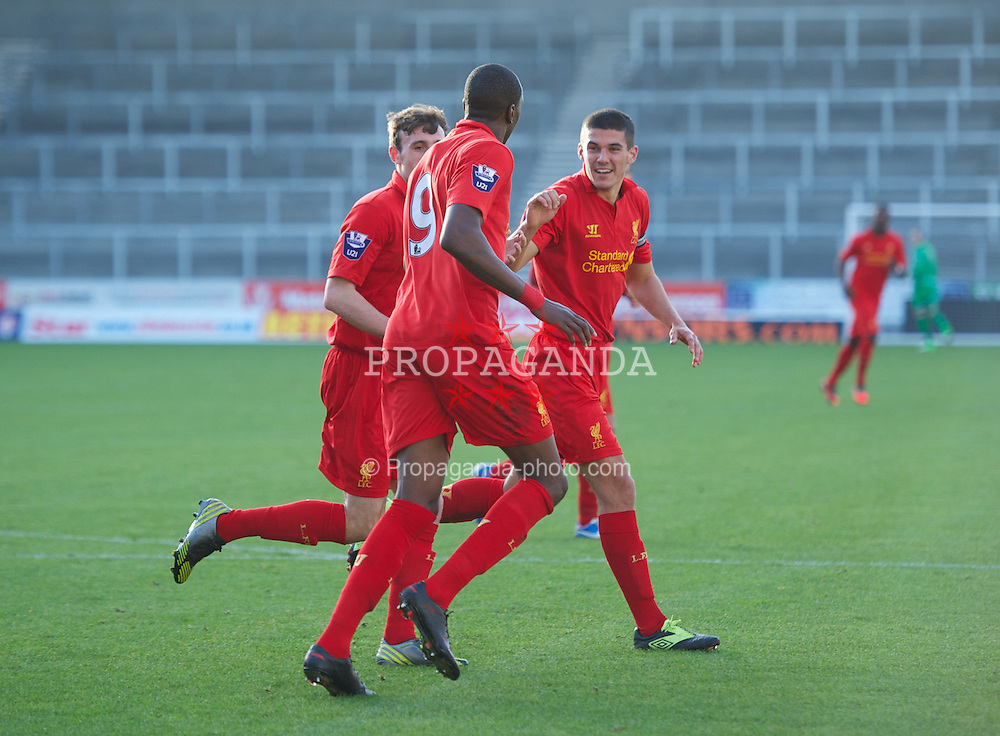 ST HELENS, ENGLAND - Sunday, November 18, 2012: Liverpool's Michael Ngoo celebrates scoring the first goal against Chelsea with Jack Robinson and captain Conor Coady during the Under 21 FA Premier League match at Langtree Park. (Pic by David Rawcliffe/Propaganda)
