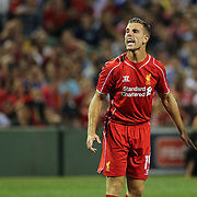 Jordan Henderson, Liverpool, in action during the Liverpool Vs AS Roma friendly pre season football match at Fenway Park, Boston. USA. 23rd July 2014. Photo Tim Clayton