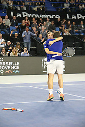 French Julien Benneteau and Nicolas Mahut defeats, 6-4, 6-7(9), 10-5, Dutch Robin Haase and British Dominic Ingot in their Men's Doubles Finals of the 2017 Open 13 Tennis tournament at the Palais des Sports in Marseille, Southern France, on February 26, 2017. Photo by Philippe Farjon/ABACAPRESS.COM