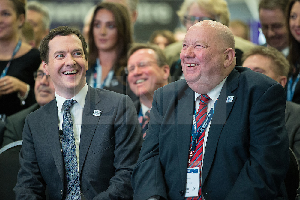 © Licensed to London News Pictures . 13/06/2016 . Liverpool , UK . Chancellor of the Exchequer , GEORGE OSBORNE and the Mayor of Liverpool JOE ANDERSON at the International Festival for Business at the Liverpool Exhibition Centre . Photo credit: Joel Goodman/LNP