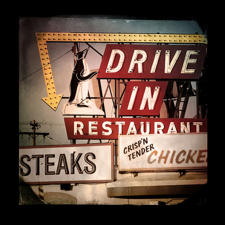 "Charles Blackburn image of the Penquin Diner in Manitowoc, WI. 5x5"" print."