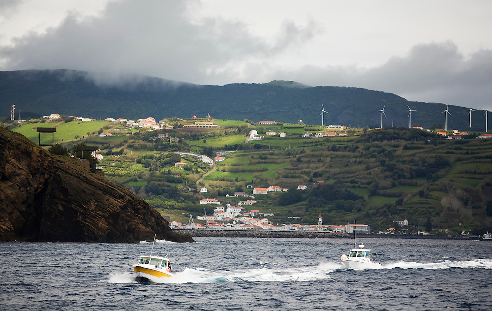 Approaching Horta harbor  on the Azores island of Faial. The Azores are a group of islands under Portuguese sovereignty. They Mark the most westerly point of the E.U. and earn most of their income from agriculture and tourism.