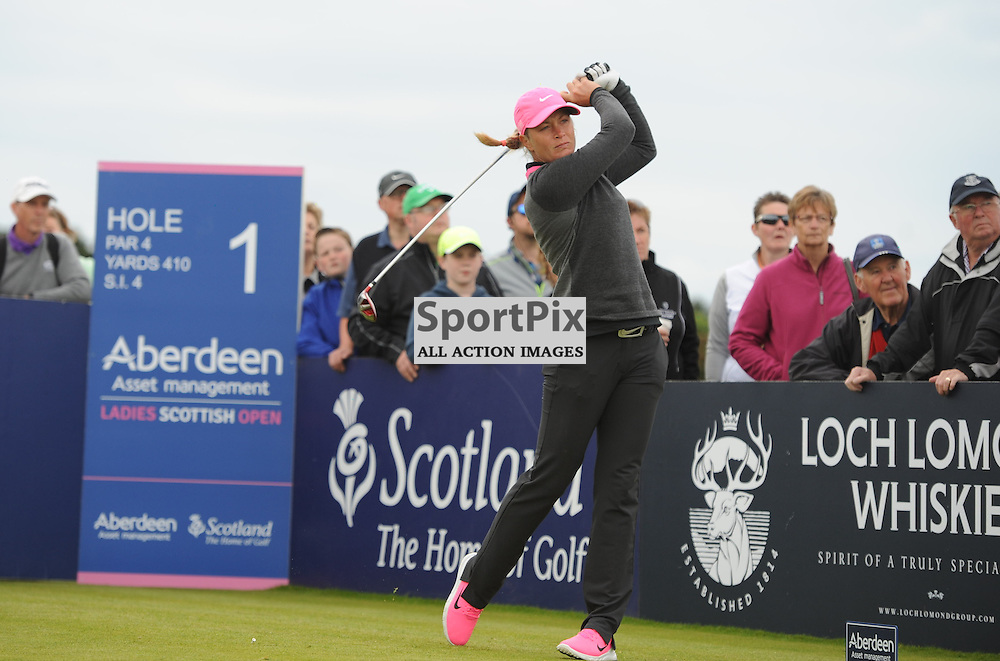Suzann Pettersen tees off at the first tee during the Aberdeen Asset Management Ladies Scottish Open, Final Round, Dundonald Links, Troon, Sunday 26 July 2015...(c) Angie Isac | SportPix.org.uk