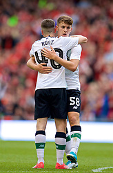 DUBLIN, REPUBLIC OF IRELAND - Saturday, August 5, 2017: Liverpool's Ben Woodburn celebrates scoring the second goal with team-mate Ryan Kent during a preseason friendly match between Athletic Club Bilbao and Liverpool at the Aviva Stadium. (Pic by David Rawcliffe/Propaganda)
