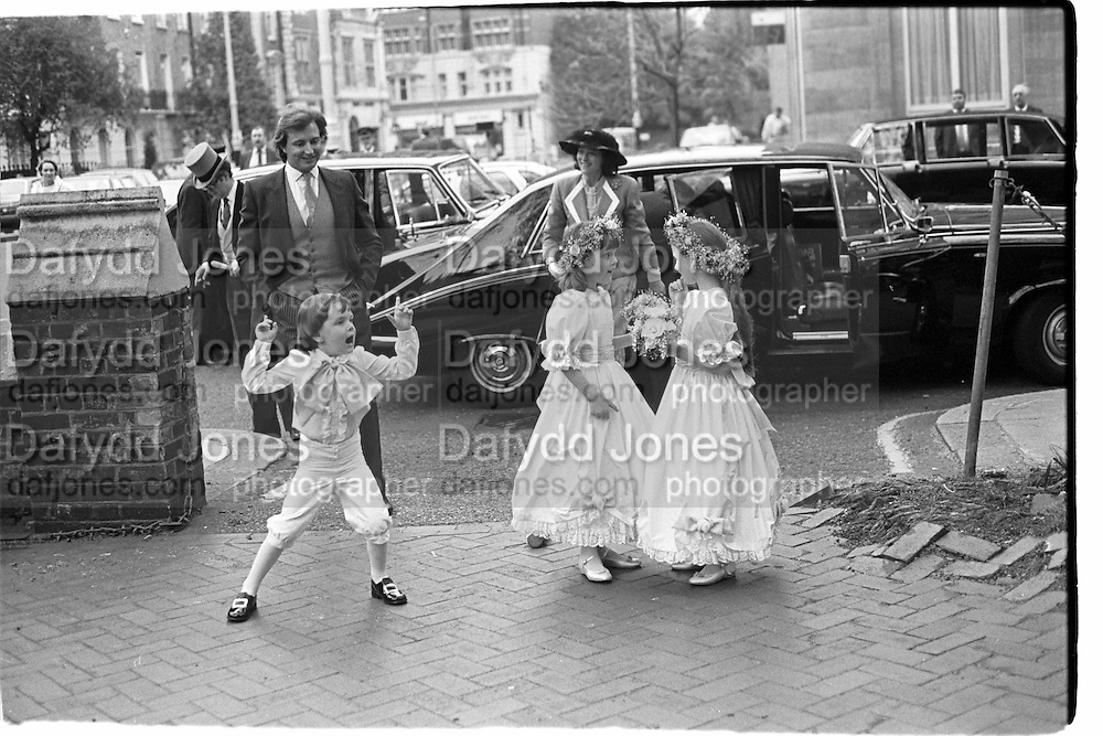 Brides maids and page boy at marriage of Earl of Woolton and Hon Sophie Birdwooed. St Paul's Knightsbridge, 30.04.87© Copyright Photograph by Dafydd Jones 66 Stockwell Park Rd. London SW9 0DA Tel 020 7733 0108 www.dafjones.com