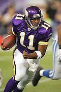 MINNEAPOLIS - NOVEMBER 21:  Quarterback Daunte Culpepper #11 of the Minnesota Vikings rushed for 35 yards on 11 carries against the Detroit Lions at the Hubert H. Humphrey Metrodome on November 21, 2004 in Minneapolis, Minnesota. The Vikings defeated the Lions 22-19. ©Paul Anthony Spinelli  *** Local Caption *** Daunte Culpepper