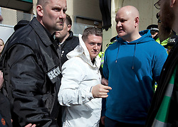 "© under license to London News Pictures. 02/04/2011: The English Defence League hold a rally in Blackburn.  Prior to the rally, the EDL leader has stated that he's been warned off attending the rally by police, for his own safety. About 2000 EDL supporters were in attendance. About 2000 EDL supporters were in attendance. It was one of the largest policing operations Lancashire police have ever put in to action. Credit should read ""Joel Goodman/London News Pictures""."