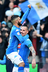 December 23, 2017 - Naples, Italy - Lorenzo Insigne of SSC Napoli celebrates after scoring with Marek Hamsik of SSC Napoli during the Serie A TIM match between SSC Napoli and UC Sampdoria at Stadio San Paolo Naples Italy on 23 December 2017. (Credit Image: © Franco Romano/NurPhoto via ZUMA Press)