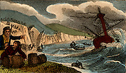 Wreckers in Cornwall, England, collecting anything useful they can from the wreck of a ship they have lured to destruction on the shore.    From 'Scenes in England' by the Rev. Isaac Taylor, London, 1822. Hand-coloured engraving.