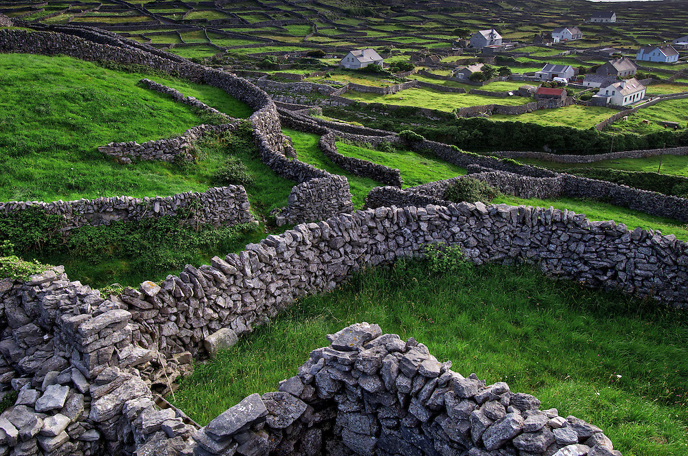Inisheer, Aran Islands, Ireland. Stone structures built over thousands of years cover the Aran Islands on the west coast of the Republic of Ireland.