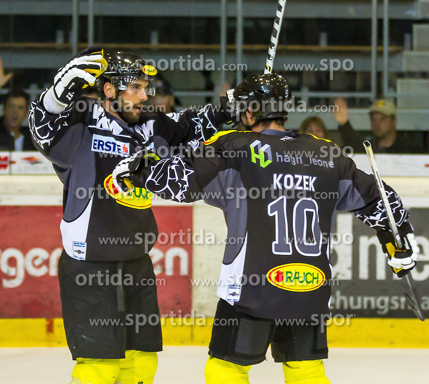 21.09.2012. Messestadion, Dornbirn, AUT, EBEL, Dornbirner EC vs SAPA Feherva AV19, 5. Runde, im Bild Torjubel beiDornbirner EC durch das Tor  von Jakob Andrew Kozek, (Dornbirner EC, #10) during the Erste Bank Icehockey League 5nd round match between Dornbirner EC and SAPA Feherva AV19 at the Exhibition Stadium, Dornbirn, Austria on 2012/09/21, EXPA Pictures © 2012, PhotoCredit: EXPA/ Peter Rinderer