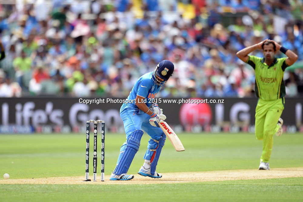 Indian batsman Virat Kohli had a close shave off an inside edge from Wahab Riaz during the ICC Cricket World Cup match between India and Pakistan at Adelaide Oval in Adelaide, Australia. Sunday 15 February 2015. Copyright Photo: Raghavan Venugopal / www.photosport.co.nz