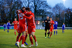 BANGOR, WALES - Tuesday, November 20, 2018: Wales' Lewis Collins (#19) celebrates scoring the first goal with team-mate Jack Vale (R) during the UEFA Under-19 Championship 2019 Qualifying Group 4 match between Wales and San Marino at the Nantporth Stadium. (Pic by Paul Greenwood/Propaganda)