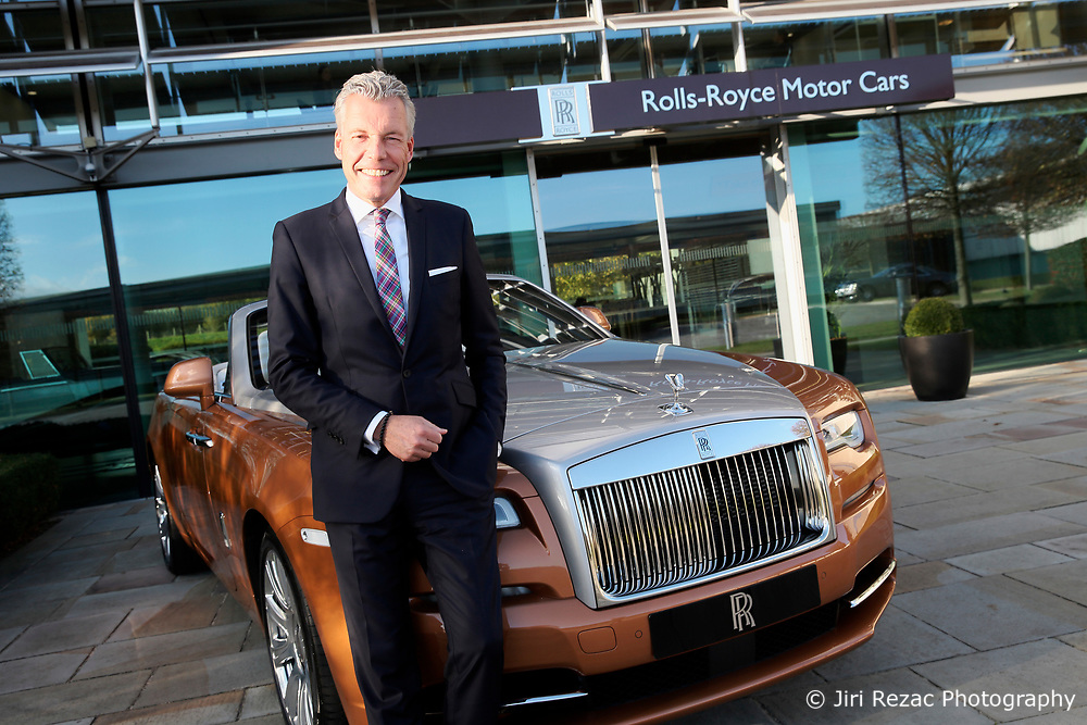 UK ENGLAND LONDON 2NOV17 - Rolls Royce Motor Cars CEO Torsten M&uuml;ller-&Ouml;tv&ouml;s poses in front of a brand new model Dawn at the company HQ in Goodwood, Sussex, England.<br /> <br /> jre/Photo by Jiri Rezac<br /> <br /> &copy; Jiri Rezac 2017