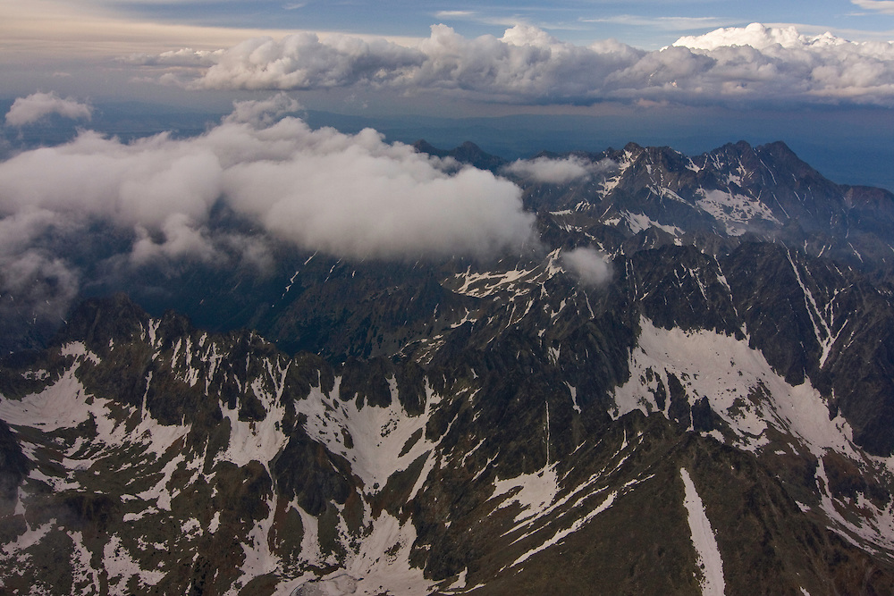 Aerial view of peaks in the High Tatras, culminating with Mount Gerlach (2665m als), the highest peak on the right. High Tatras, Slovakia. June 2009. Mission: Ticha