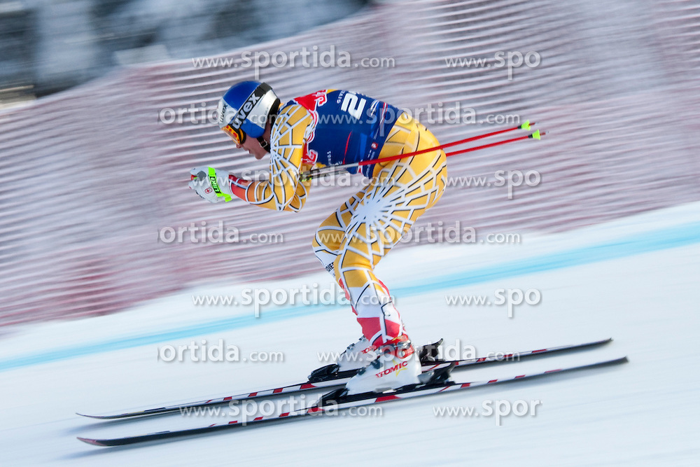 KITZBUHEL AUSTRIA. 22-01-2011. Erik Guay (CAN) speeds down the course competing in the 71st Hahnenkamm downhill race part of  Audi FIS World Cup races in Kitzbuhel Austria.  Mandatory credit: Mitchell Gunn