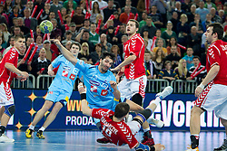 David Spiler of Slovenia vs Piotr Grabarczyk of Poland during handball match between National teams of Slovenia and Poland of Qualifications for EURO 2012, on March 9, 2011 in Arena Stozice, Ljubljana, Slovenia. Slovenia defeated Poland 30-28. (Photo By Vid Ponikvar / Sportida.com)