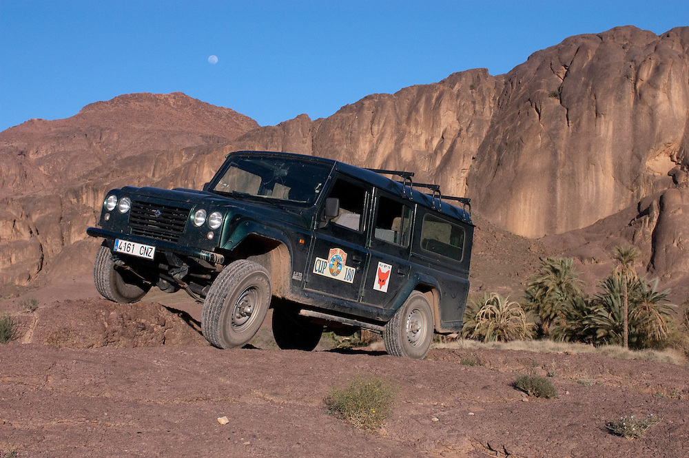 Santana, Spanish Land Rover, at an Oasis in the desert near Ouarzazate, Morocco.